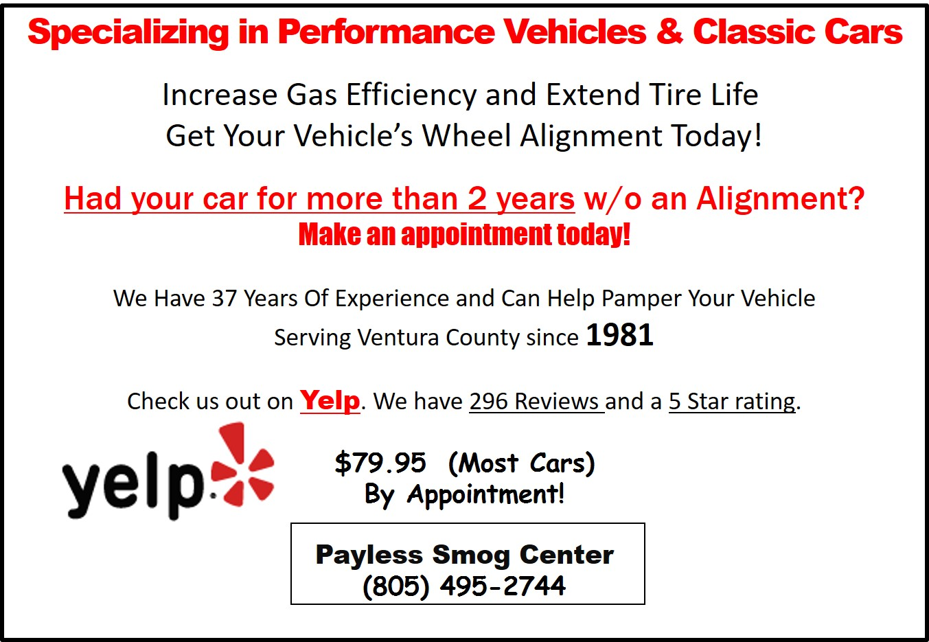 Wheel Alignment- Payless Smog Center