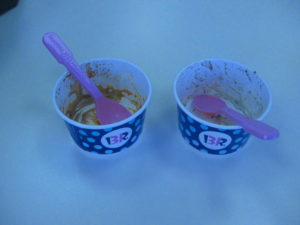 Empty ice cream cups Baskin-Robbins