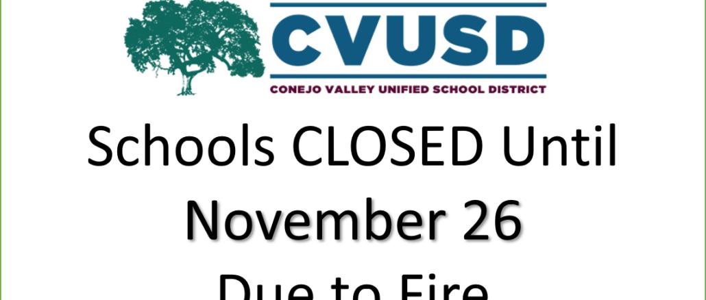 CVUSD Schools Closed until November 26