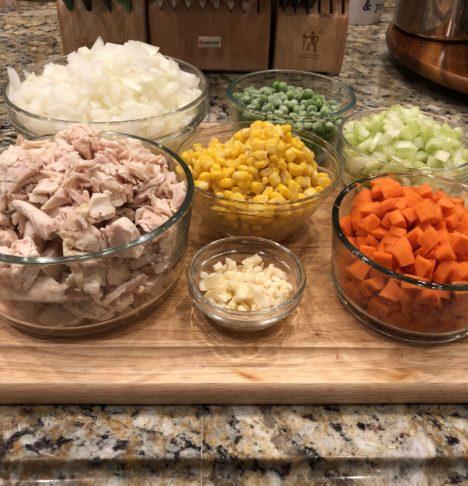 Chicken Pot Pie Chopped Ingredients